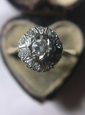 Vintage Diamond Cluster Ring In 18ct Yellow Gold Very Pretty