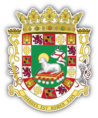 Puerto Rico Coat Of Arms Car Bumper Sticker Decal 4'' x 5''