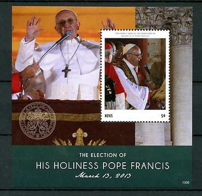 Nevis 2013 MNH Election His Holiness Pope Francis 1v S/S Popes Stamps