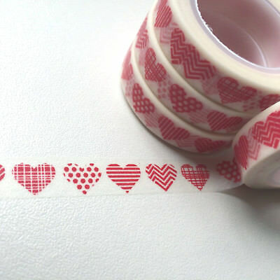 Washi Tape Thin Red Patterned Hearts 10Mm X 10Mt  Scrap Planner Craft Mail Art