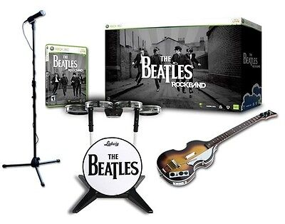 NEW Xbox 360 Beatles Rock Band Limited Edition Bundle Drums Guitar Game & Mic