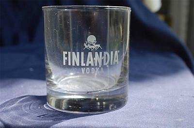 Finlandia Vodka Nice Rocks Glass Reindeer Logo NICE!