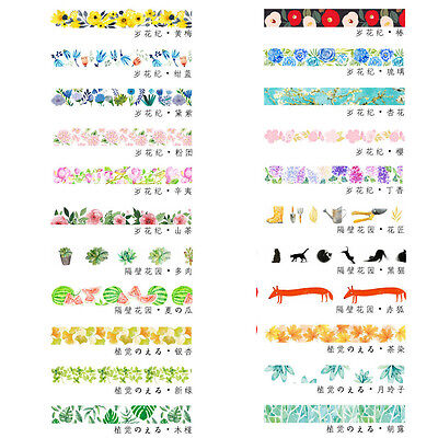 Art DIY Floral Washi Sticker Decor Roll Paper Masking Adhesive Tape Crafts Gifts