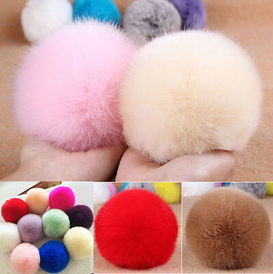 Fur Pom Pom Keyring Real Fluffy Handbag Charms 8cm Puff Ball Keychain Clothes