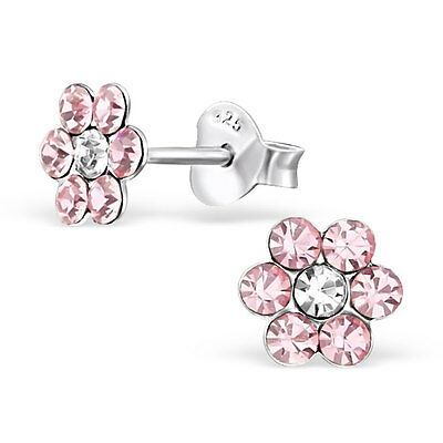 925 Sterling Silver Crystal Pink Flower Kids Girls Women Stud Earrings