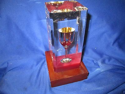 """encased Silver Cup Trophy Award Wood Base used small chalis goblet 7"""" TALL TAIHO"""