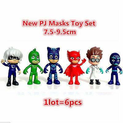 6pcs/set Pj Masks Action Figure Characters Catboy Owlette Gekko Cloak Toys Doll