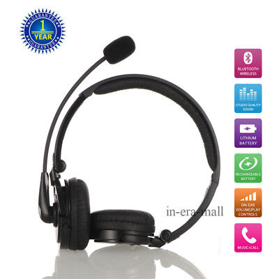 Wireless Headphone Bluetooth Headset Stereo Noise Cancelling With Call Mic Black