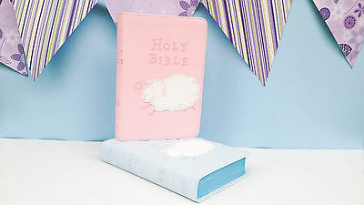 Personalised Baby Keepsake Bible - Pink - Christening Baptism Gift Present Idea