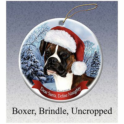 Boxer Brindle Uncropped Howliday Porcelain China Dog Christmas Ornament
