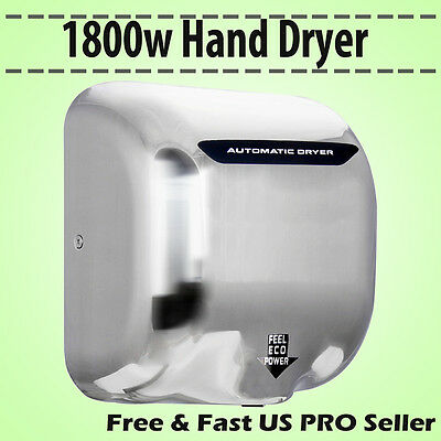 1800W Commercial Auto Hand Dryer Heavy Duty High Speed Stainless Steel High