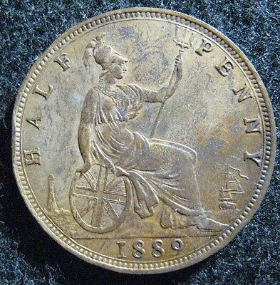 1889 Great Britain 1/2 Penny Victoria, Extreme High Grade, Minor rim tic, Robust