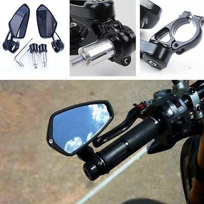 "Black Motorcycle Billet Aluminum 7/8"" 22 Bar End Side Rearview Universal Mirrors"