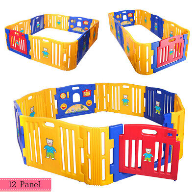 12 Panel Baby Playpen Kids Safety Center Yard Home Indoor Outdoor