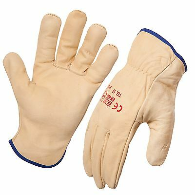 12 Pack - Premium Full Grain Cow Hide Leather Riggers Gloves. Style No: 743341.