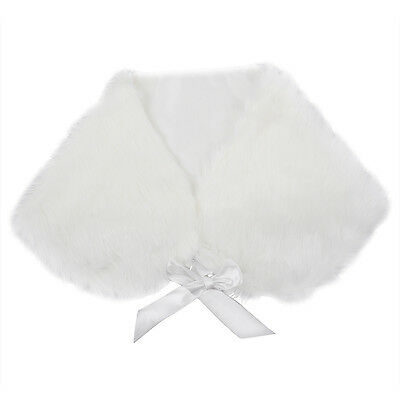 Ivory Plush Faux Fur Women Wedding Wraps Shrug Bolero Jackets Bridal Coat U2D8