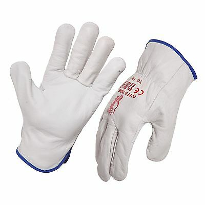 12 Pack - Quality Full Grain Cow Hide Leather Riggers Gloves. Style No: 471100.