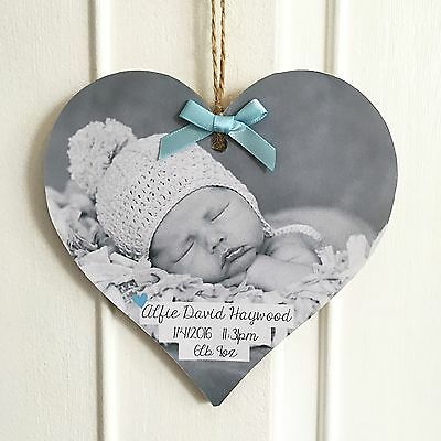 Handmade Personalised Wood Plaque/Sign Photo Gift Keepsake New Baby Announcement