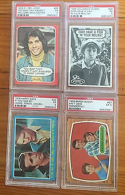 Favourite TV Series Trading Cards - Fonzie, Barbarino, Gilligan & Alice - PSA 5.