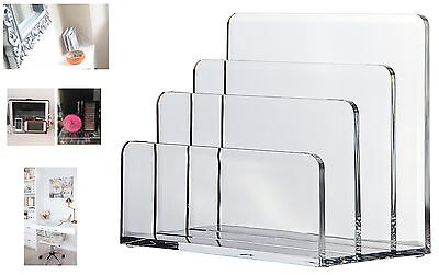 Acrylic Letter Holder Envelope Stand Clear Slot Paper Sorter Desk Organiser Rack