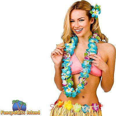 HAWAIIAN HULA GIRL BLUE ORCHID FLOWER LEI One Size FAST POST Womens Fancy Dress