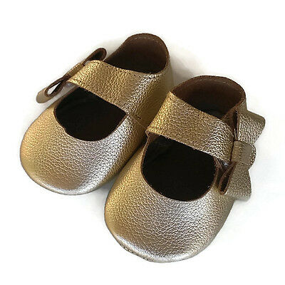 Genuine Leather baby soft sole bow Gold shoes 11.5cm in-soles