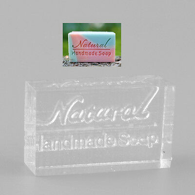 Nice Acrylic Rectangle Natural Word Design Handmade Clear Soap Stamp Mold Craft