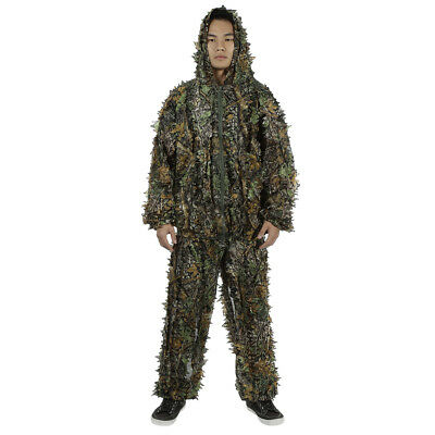 3D Leafy Camouflage Jungle Bionic Suit Set for Outdoor Hunting  Closure zipper