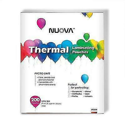 "Nuova Premium Thermal Laminating Pouches, 9"" x 11.5""/Letter Size/3 mil, 200 New"