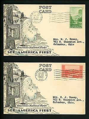 US FDC #740-749 Linprint M-4 1934 Various States National Parks Year Set of 10