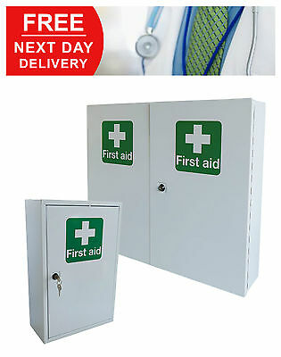 Lockable Metal First Aid Kit Cabinet Wall Mounted Storage Emergency Large Small