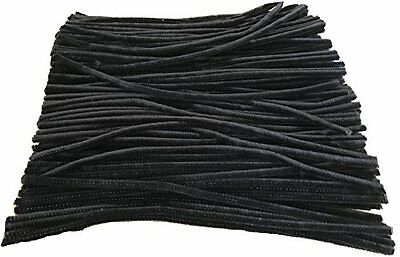 250 Black Pipe Cleaners 30cm x 6mm Chenille Arts And Craft Stems 12""