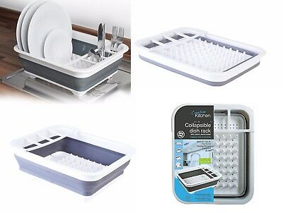 Silicon Plastic Collapsible Dish Plate Drainer Draining Rack Cutlery Holder