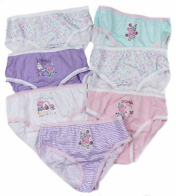 Girls Peppa Pig Pants Briefs Knickers Seven Pack Ex Store Snow Fun Theme