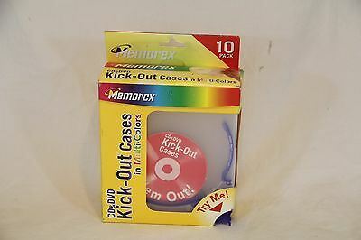 10 New Memorex Thin Kick-Out Cases Multi-Color CD DVD Poly Plastic Case - NOS