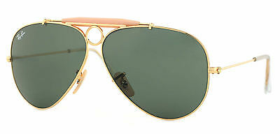 Ray-Ban RB3138 001 Shooter Gold Frame Green Classic 58mm Lens Sunglasses