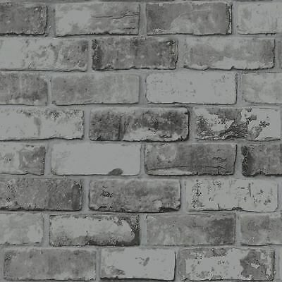 Slate Grey Brick Wallpaper Realistic 3D Effect Rustic Feature 6753