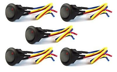 "Red LED Black Mini Round Rocker Switch w/ 6"" Lead Wire SPST Toggle 5 Pieces"