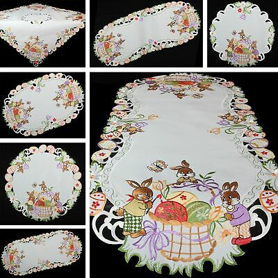 Chicken Family Easter Embroidery Tablecloth Table runner Overlay White