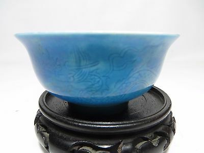 Rare Chinese blue antique porcelain incised dragon bowl with mark