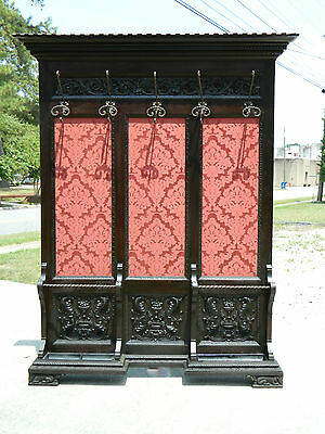 Mahogany Carved Paneled Wall Hall Tree Coat Rack Umbrella Stand 19th Century
