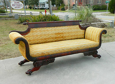 Mahogany Federal Empire Claw Foot Sofa circa 1840