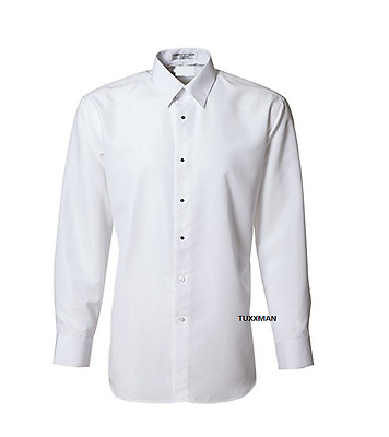 Men's New  White Microfiber Laydown Spread Collar Formal Tuxedo Shirt ALL SIZES