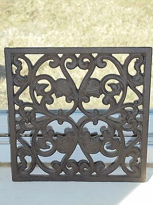 Brown Cast Iron Trivet Metal Hot Pad Decor Scrollwork Kitchen Collectible