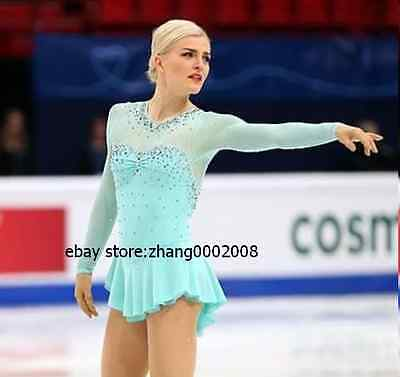 Stylish Ice skating dress.turquoise Competition Figure Skating Twirling dress