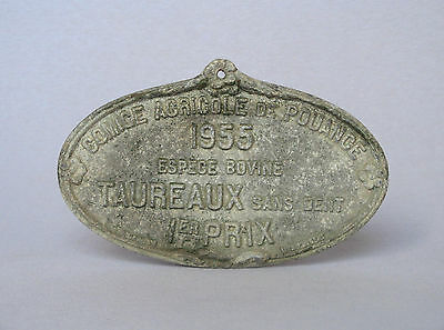 VINTAGE FRENCH METAL AWARD PLAQUE for cattle breeding competition, 1955