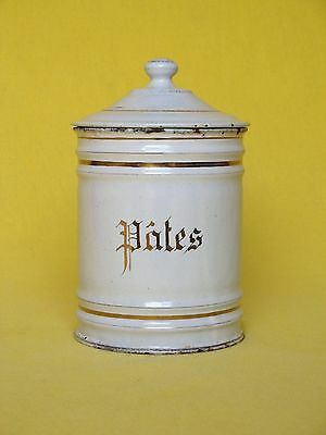 Late 1800s - very early 1900s VINTAGE FRENCH ENAMELWARE PASTA CANISTER