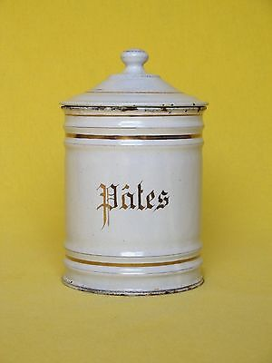 (REDUCED) - Late 1800s - early 1900s VINTAGE FRENCH ENAMELWARE PASTA CANISTER