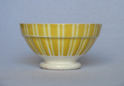 VINTAGE FRENCH CERAMIC CAFE AU LAIT BOWL with large yellow stripes