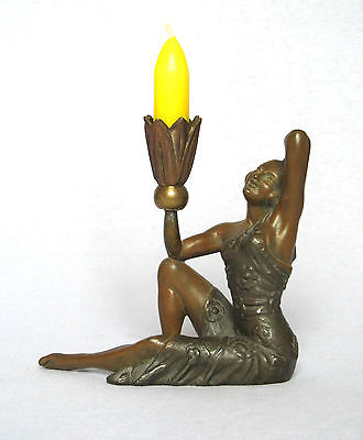 Vintage French Art Deco Statuette Candle Holder